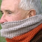 Man in color block cowl