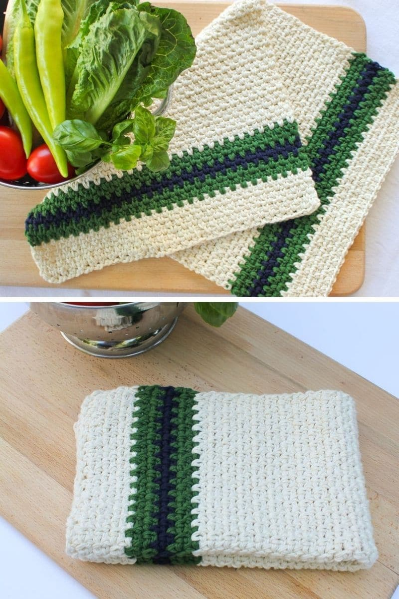 Green and ivory dish towel