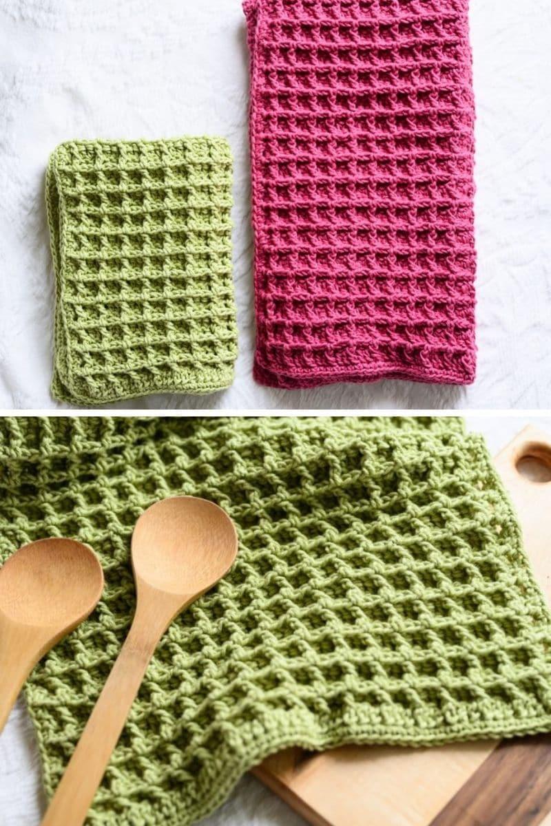 Waffle stitch towel