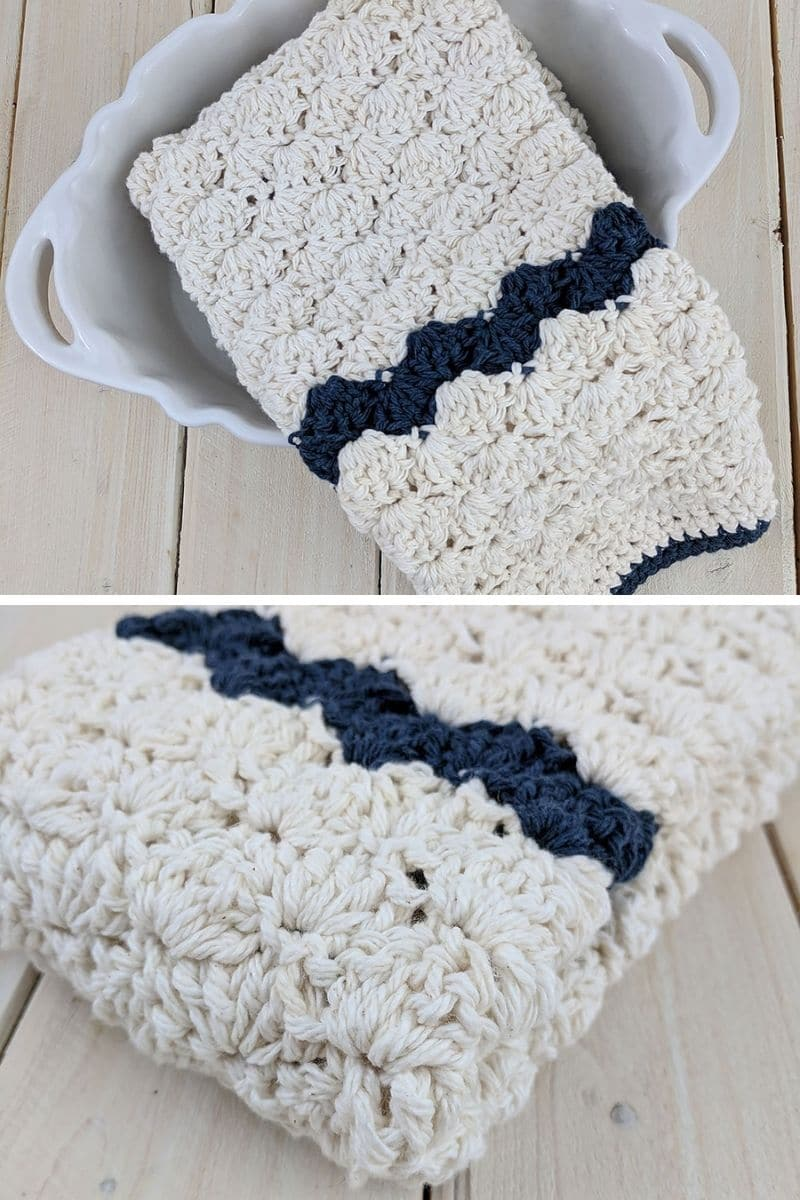 Ivory and blue towel