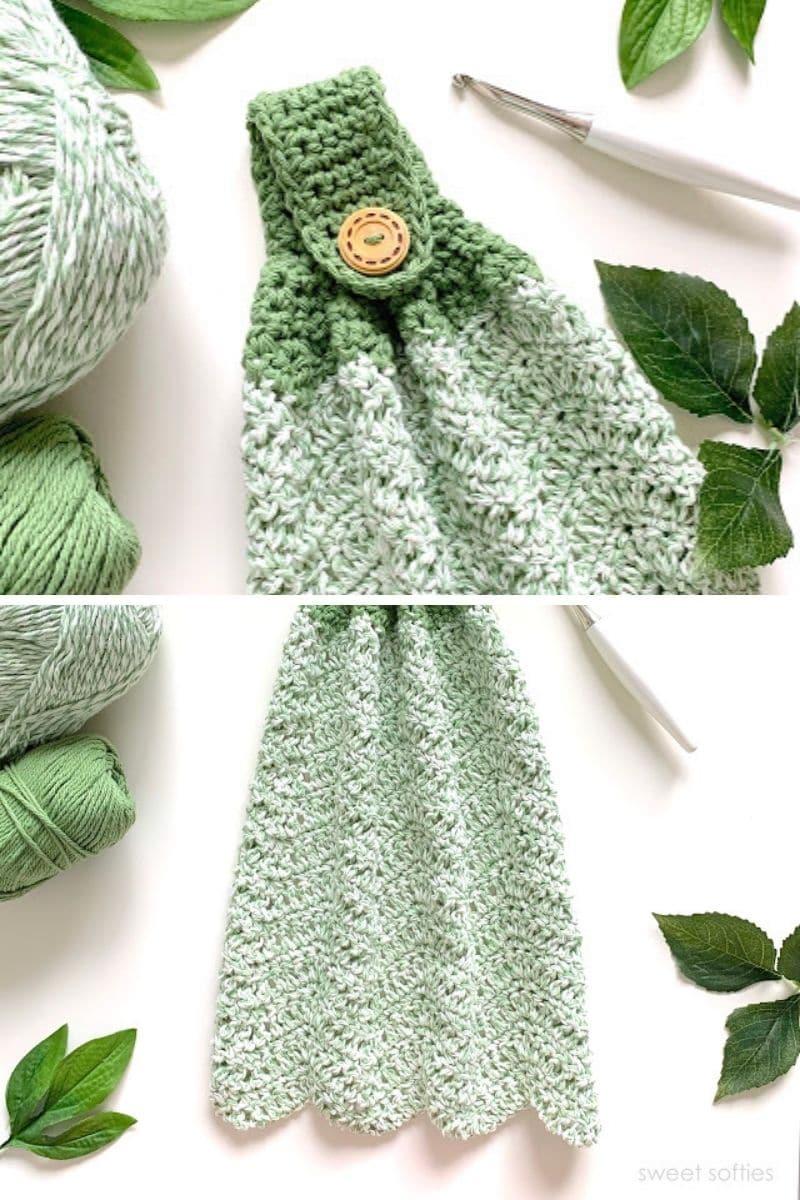 Green scalloped edge towel