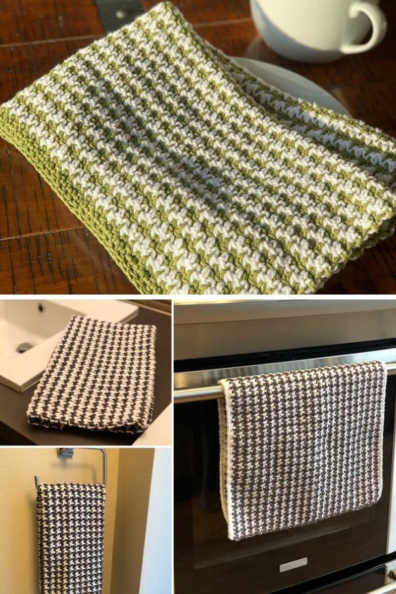 Green houndstooth kitchen towel