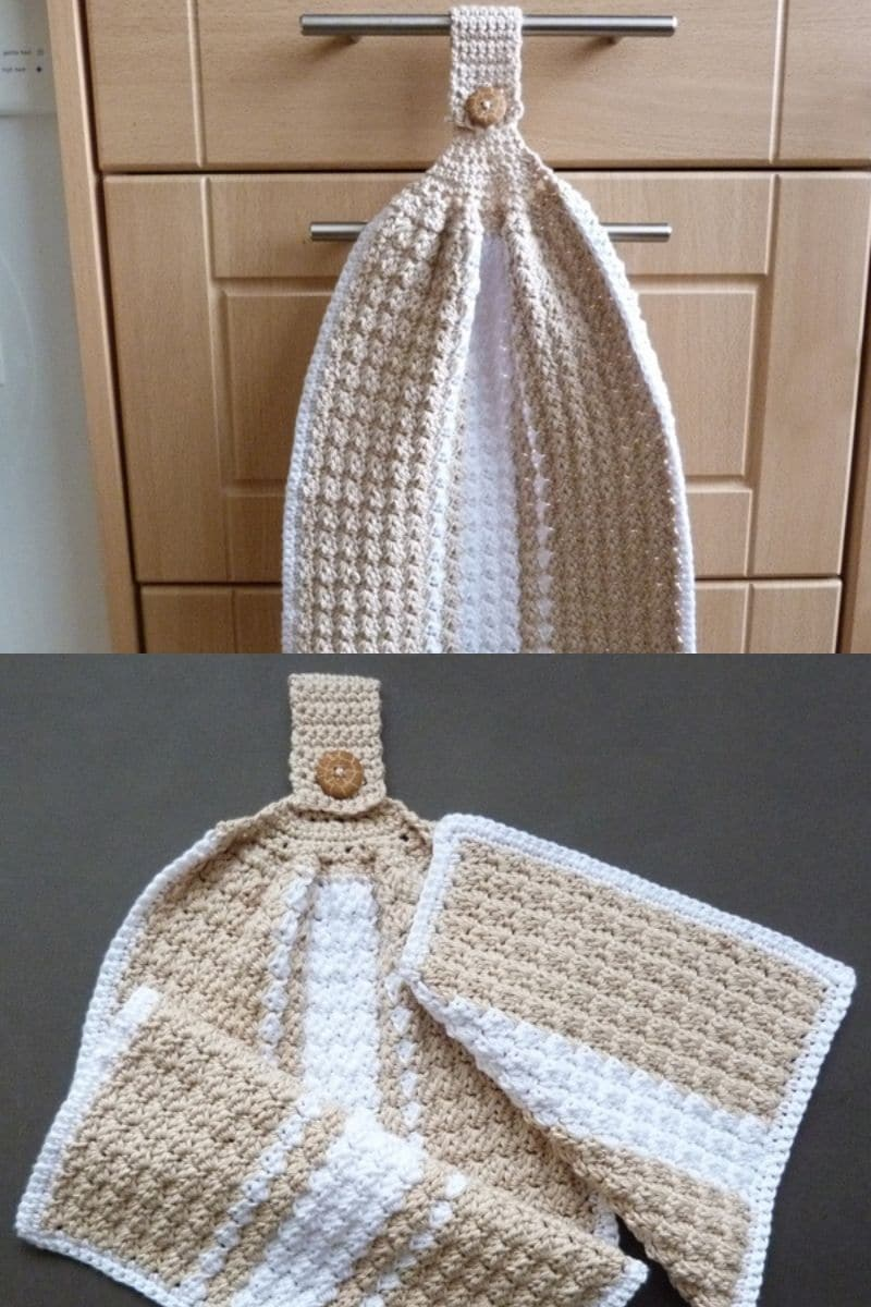 Dish towel with hanging loop