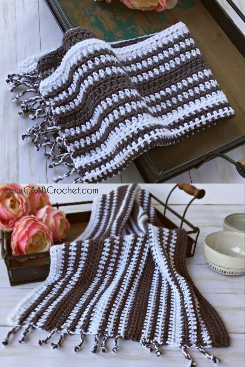 Brown and white striped towels