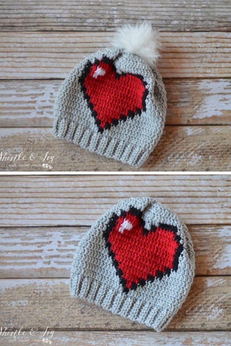8-bit heart hat