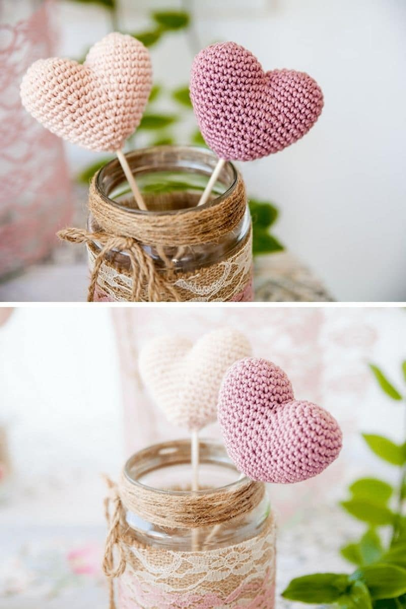 Crochet heart decor