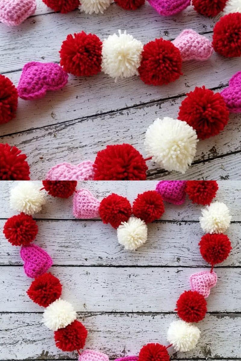 Heart pom pom garland