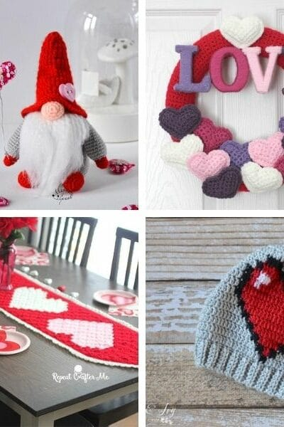 Valentine's Day crochet collage