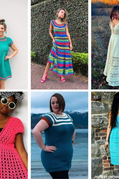 Square crochet dress collage image