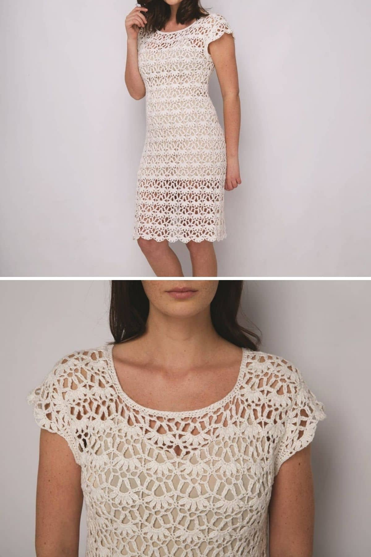 White lace dress collage