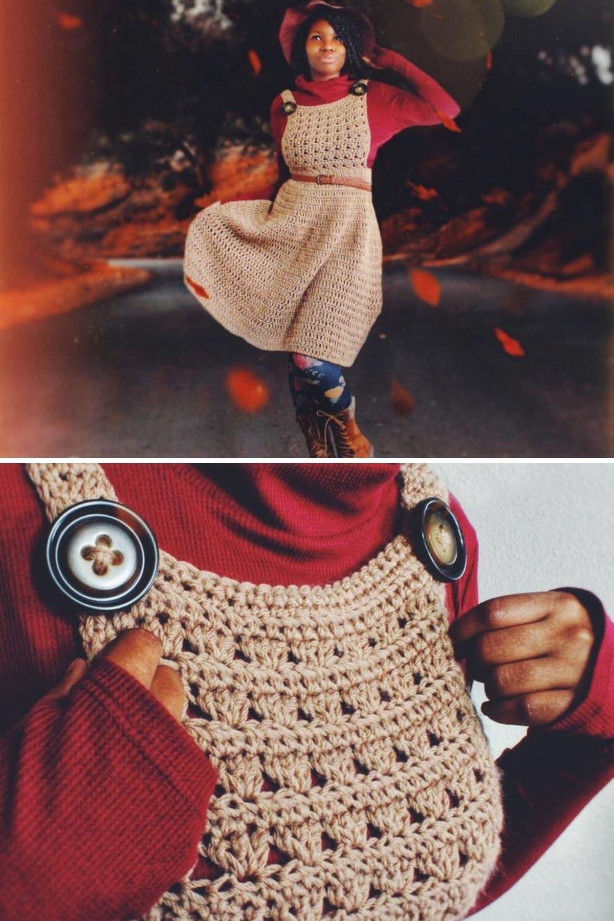 Black woman in tan crochet overall dress