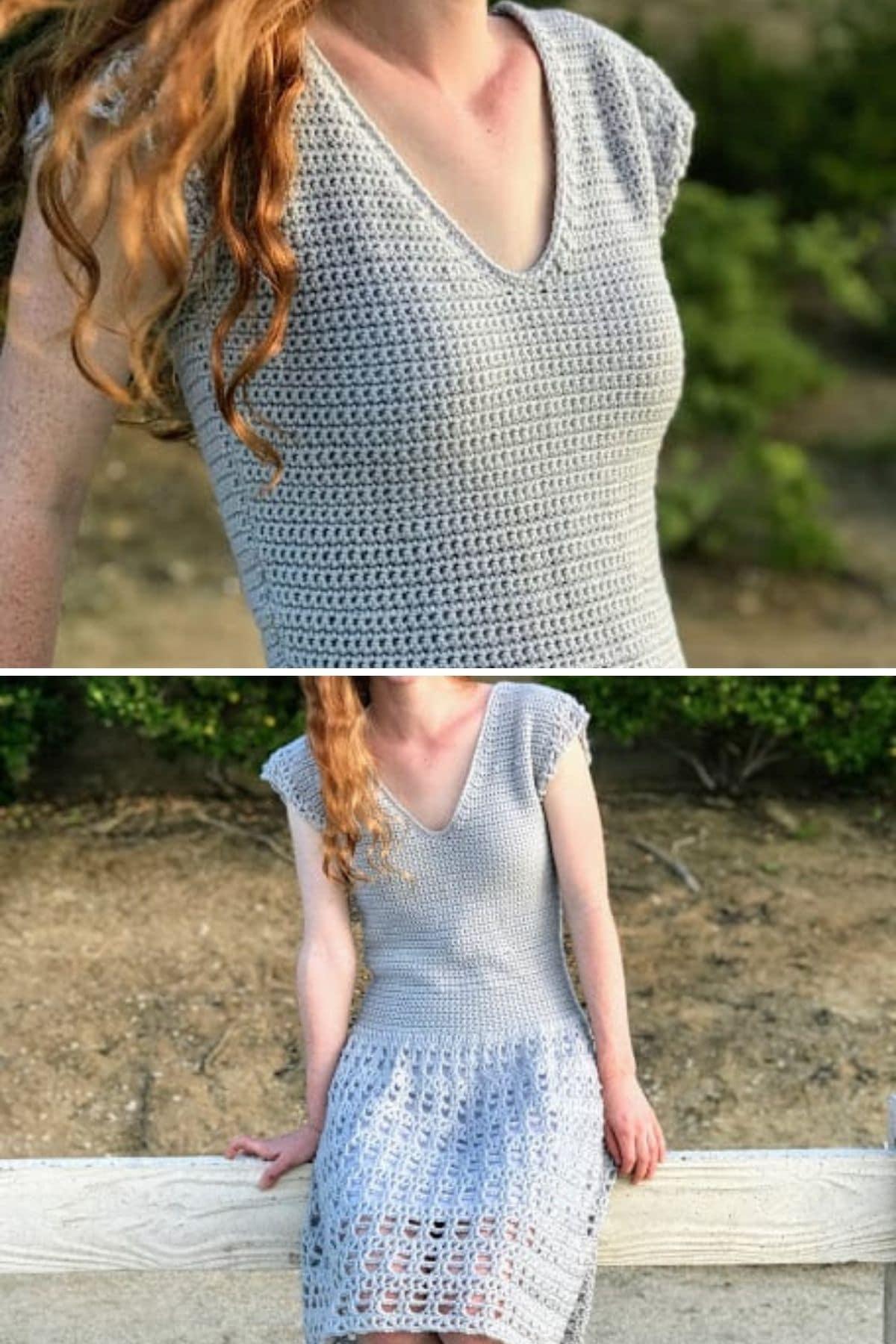 Brunette sitting on low wall in gray crochet dress