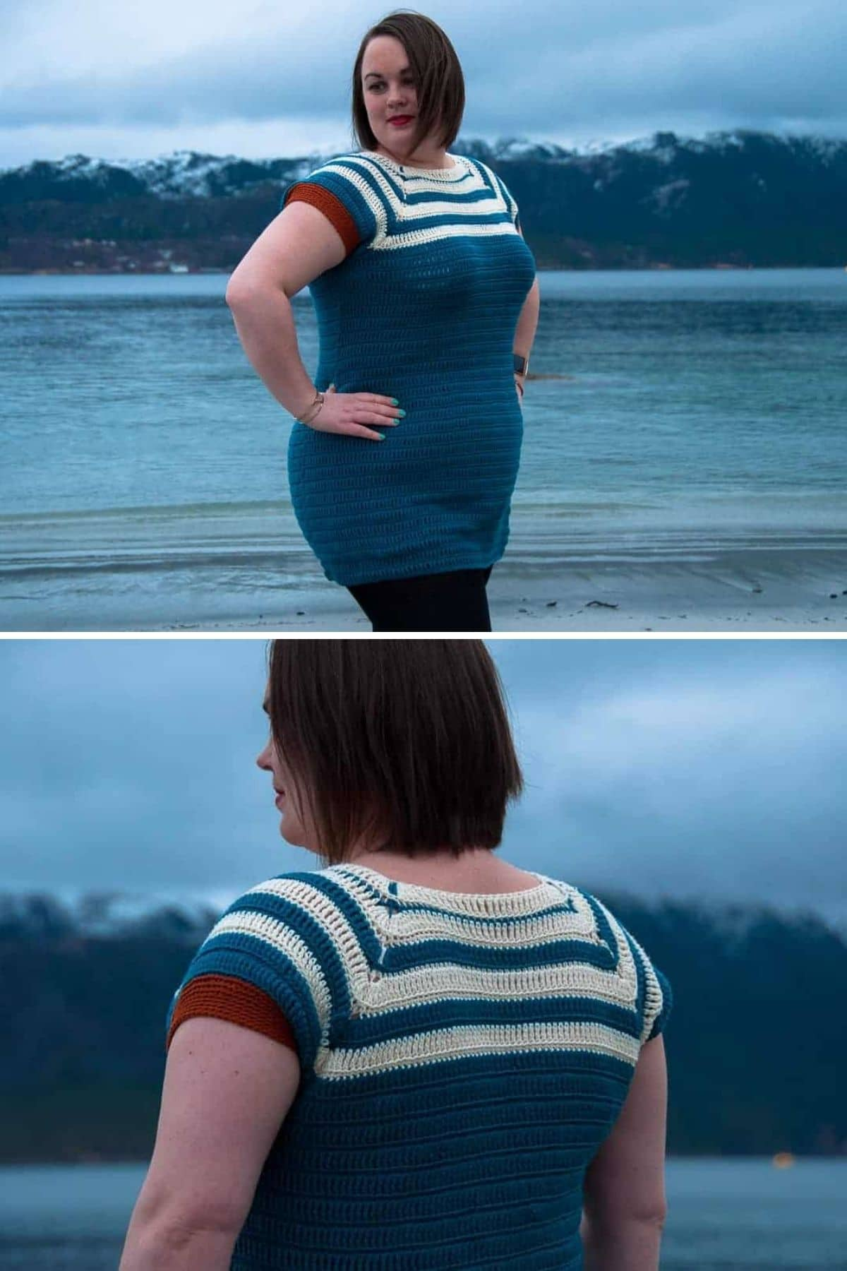 Collage of woman in striped bodycon crochet dress