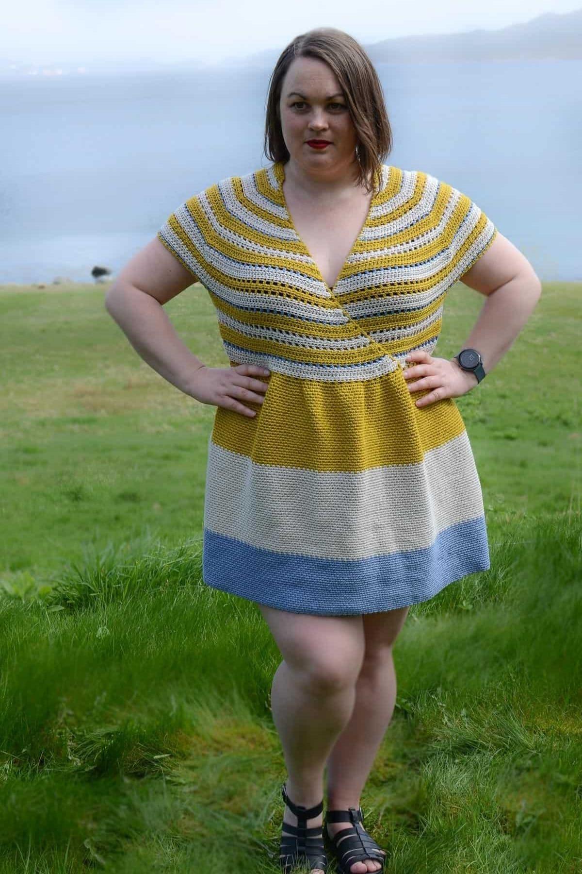 Striped yellow and blue crochet mini dress