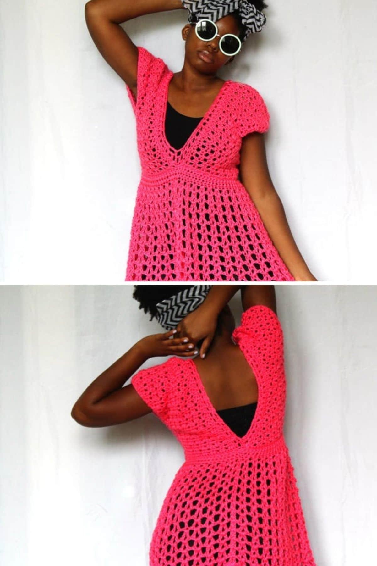 Black woman in bright pink dress