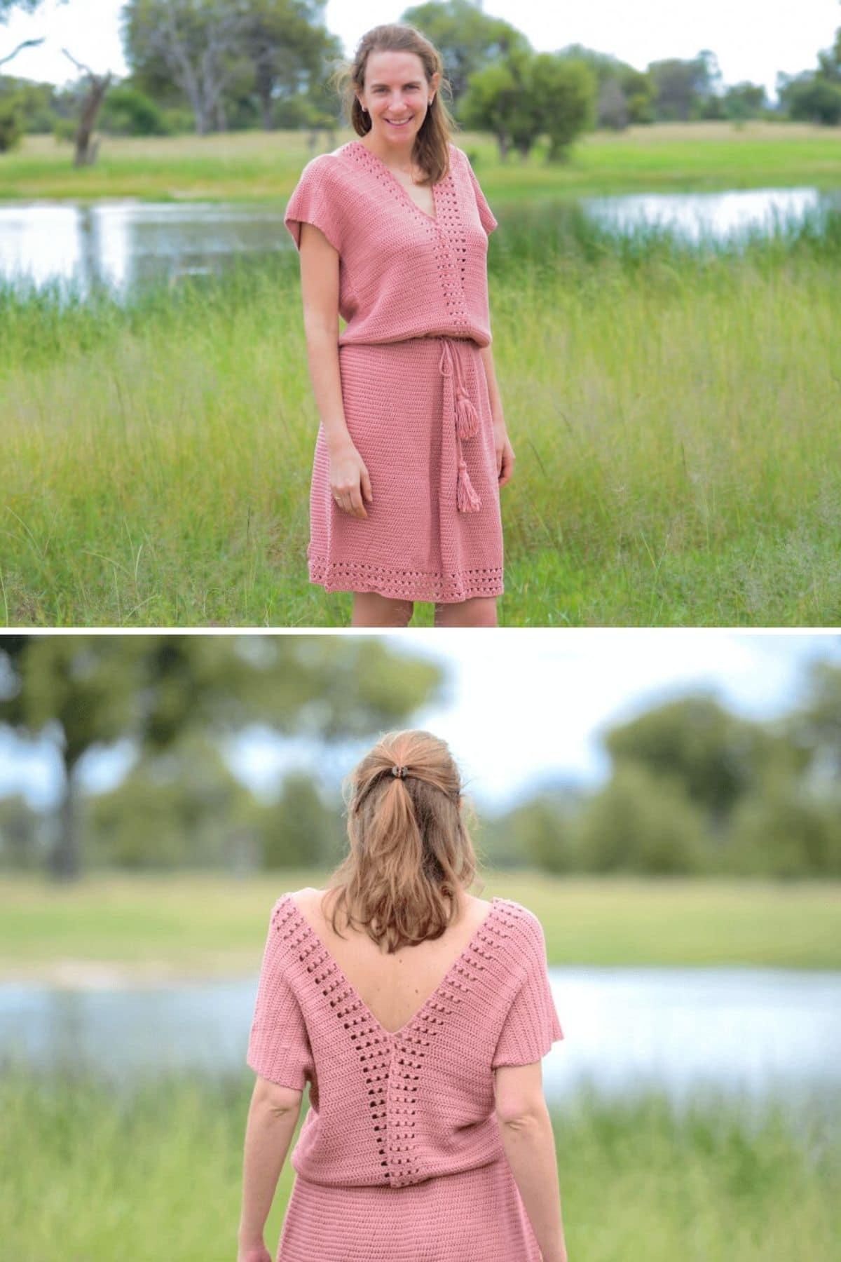 Woman in pink crochet dress with open back in field