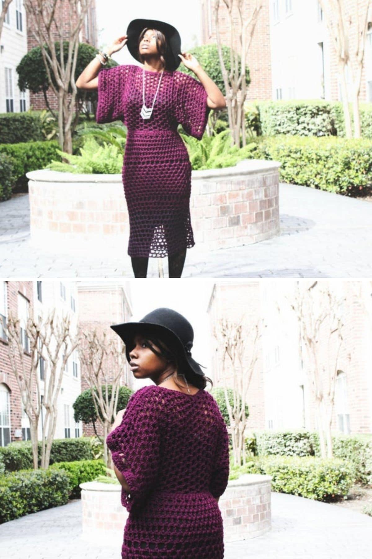 Black woman in eggplant crochet dress