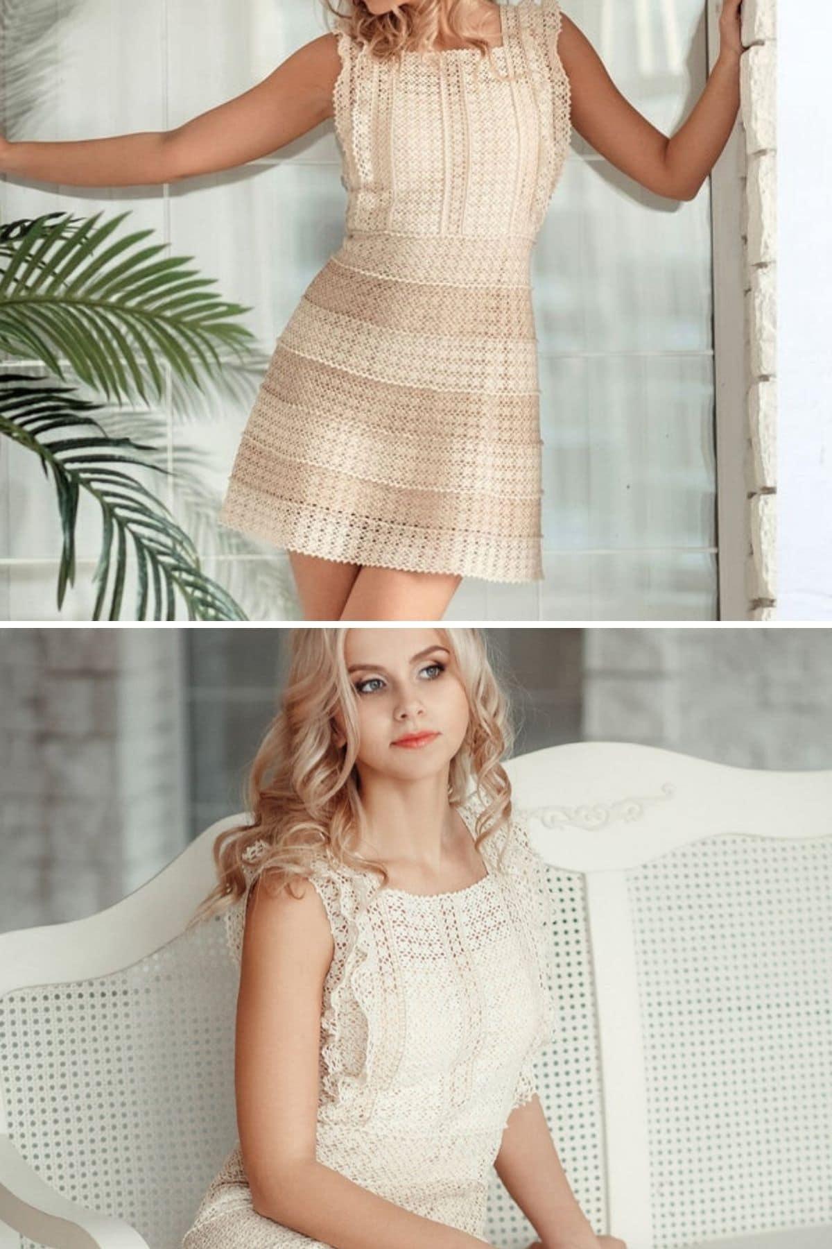 Blonde in tan crochet dress