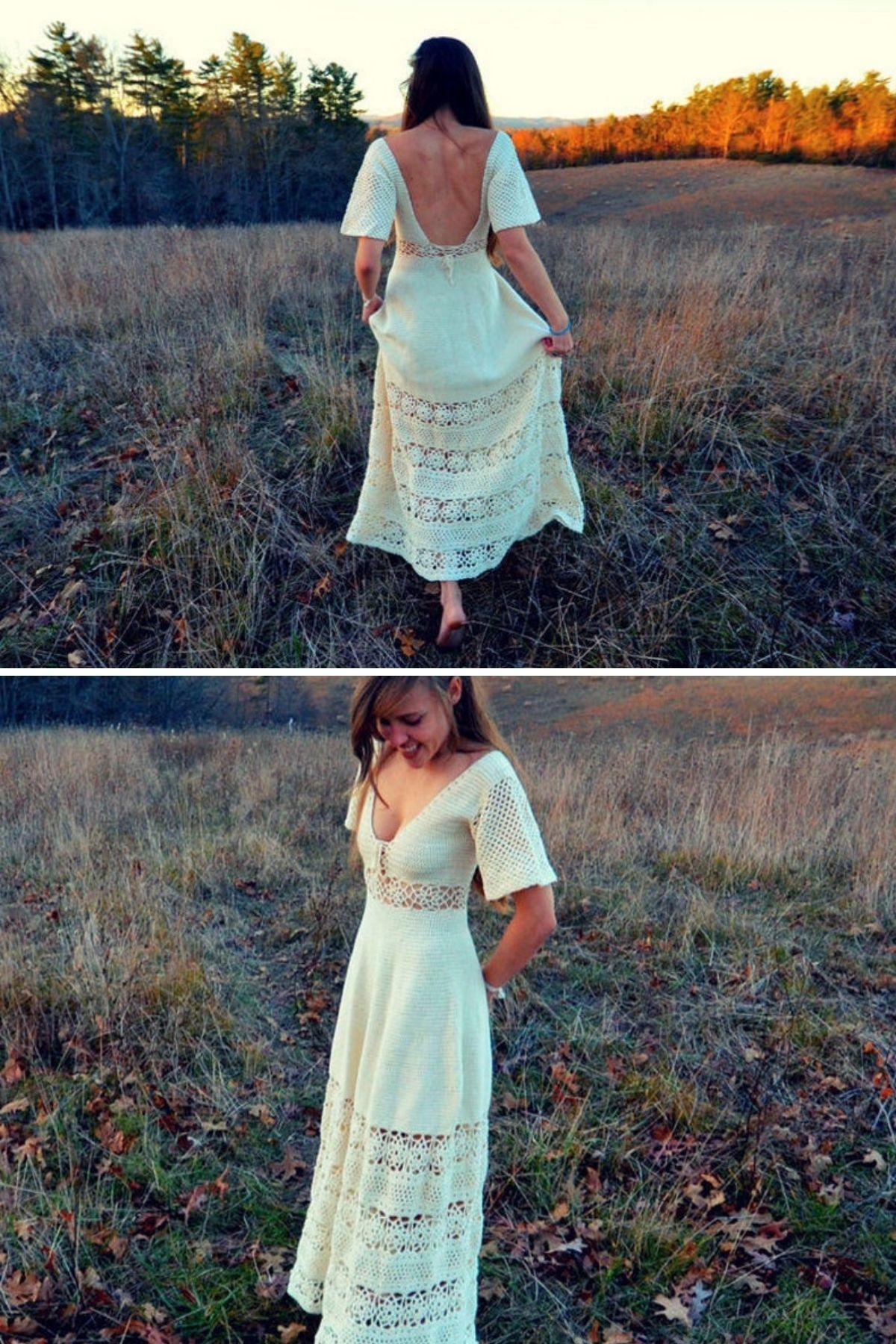 Woman in crochet dress in field