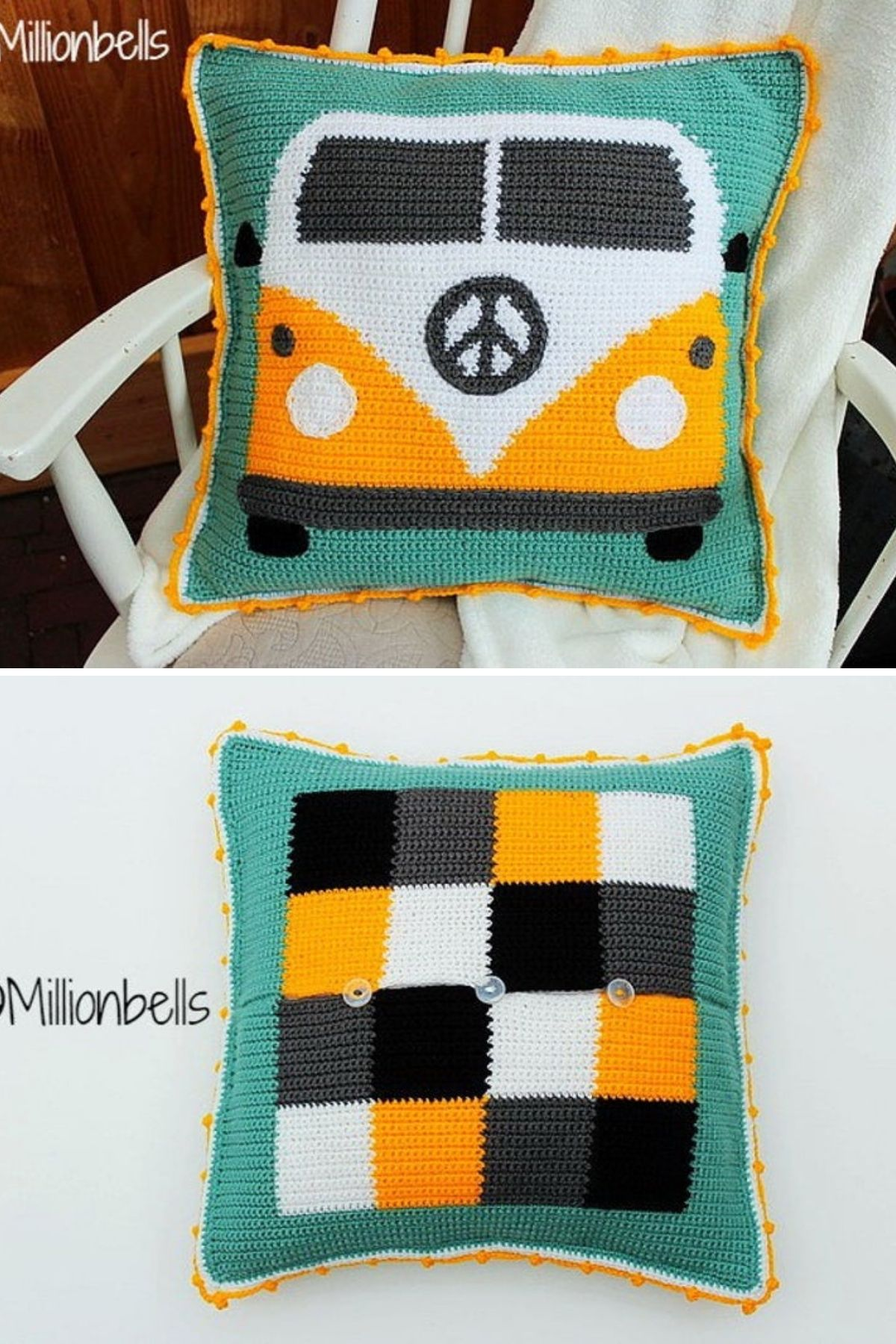 Crochet hippie van pillow in yellow and teal