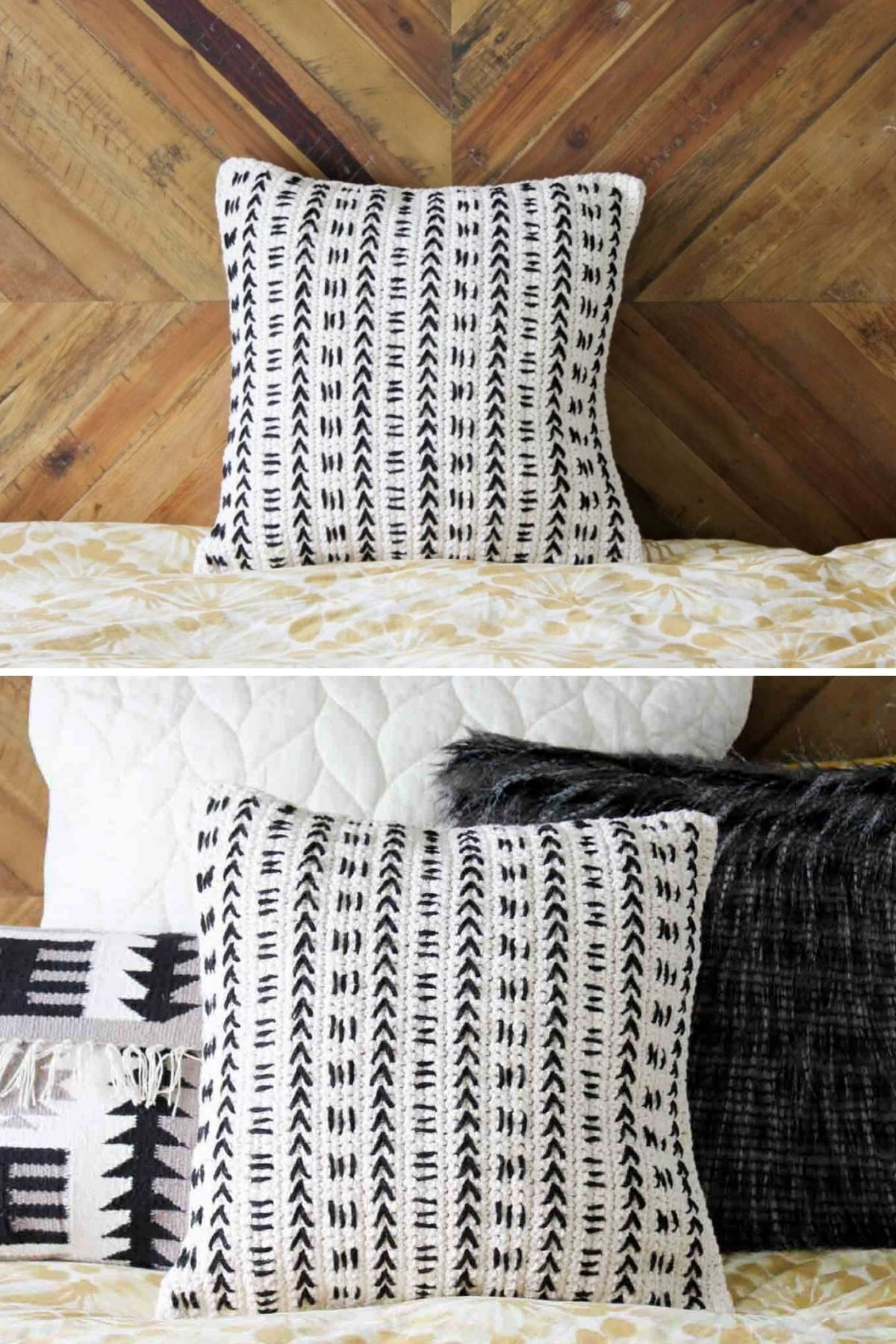 Black and white pillow with arrows and chevron pattern