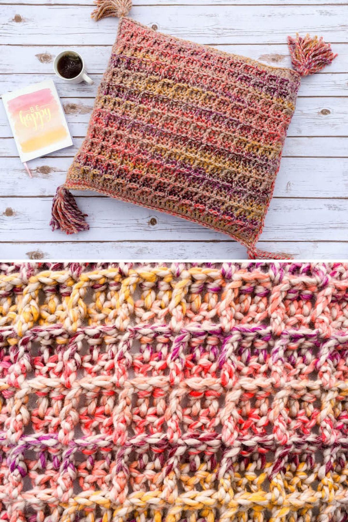 Waffle stitch pattern pillow with tassels