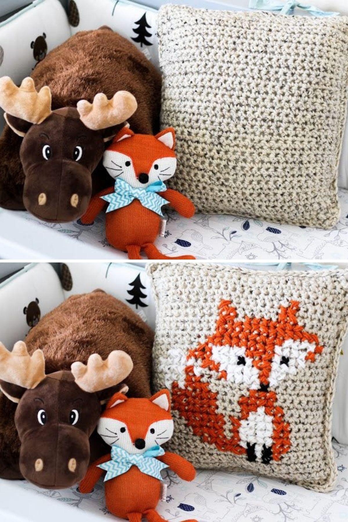 Cream fox pillow next to stuffed animals