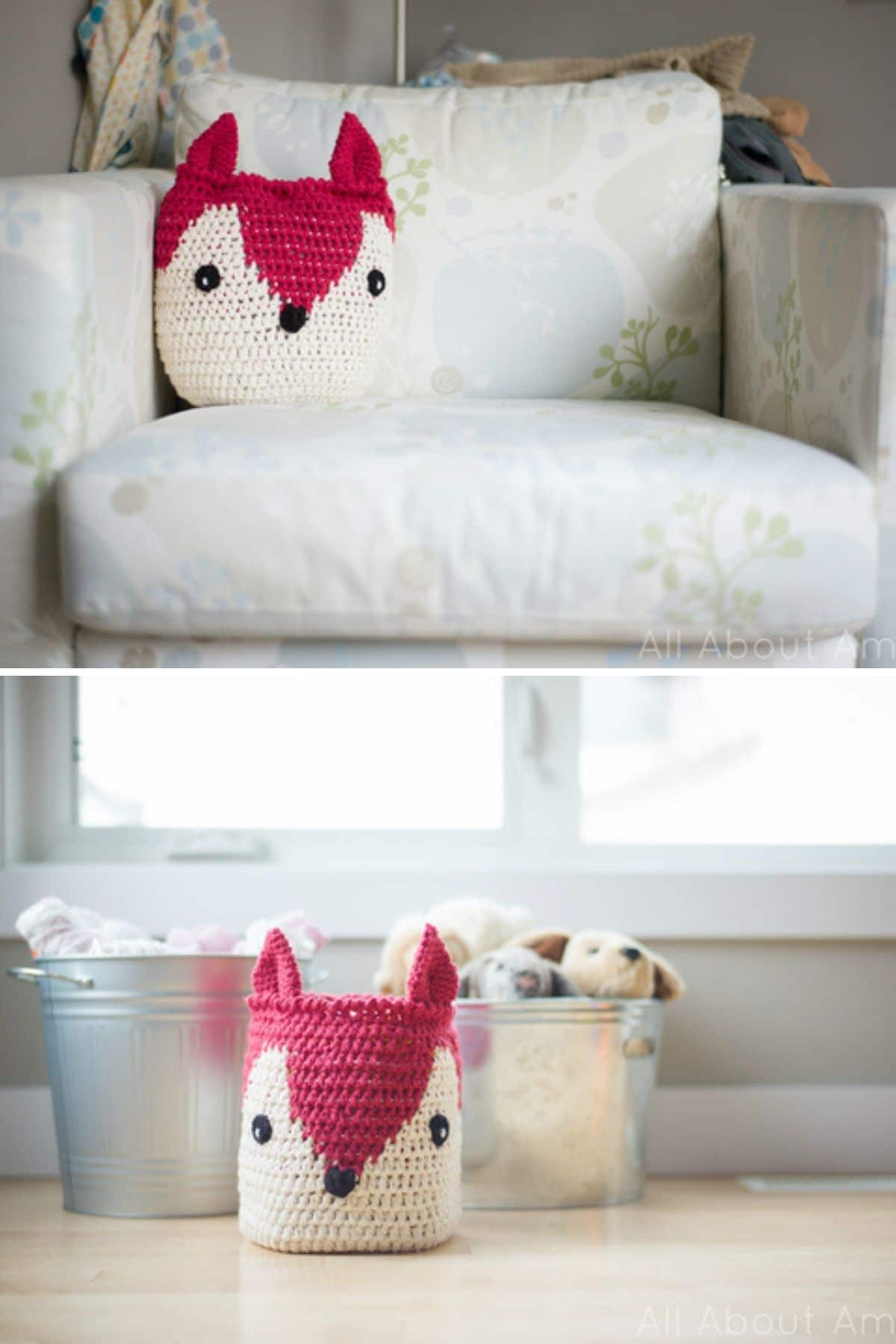 Pink and white fox pillow on sofa