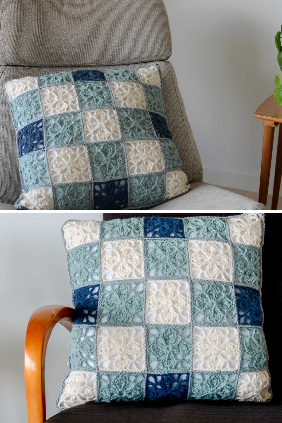 Blue and white granny square pillow on chair