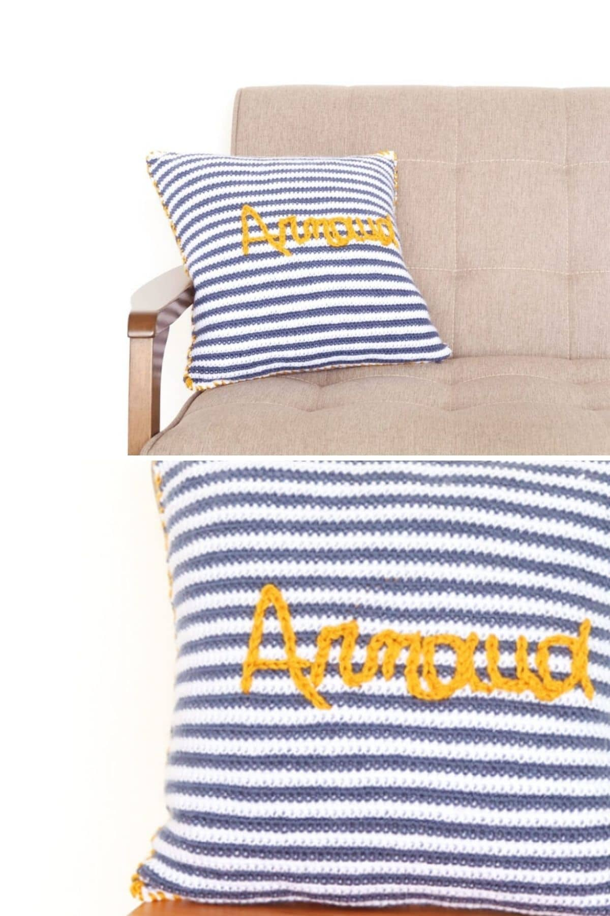 Blue and white striped pillow with yellow name
