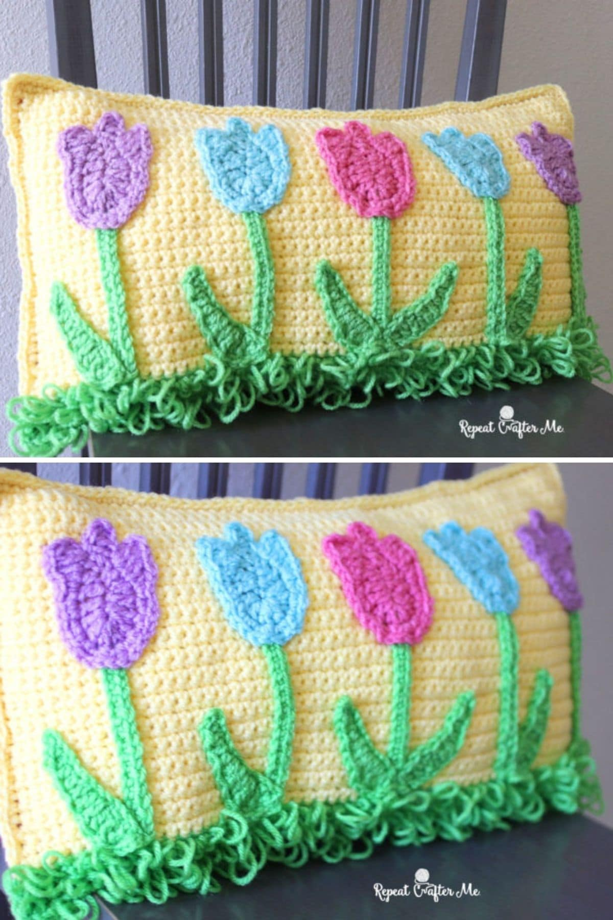 Yellow pillow with pink purple and yellow tulips on front