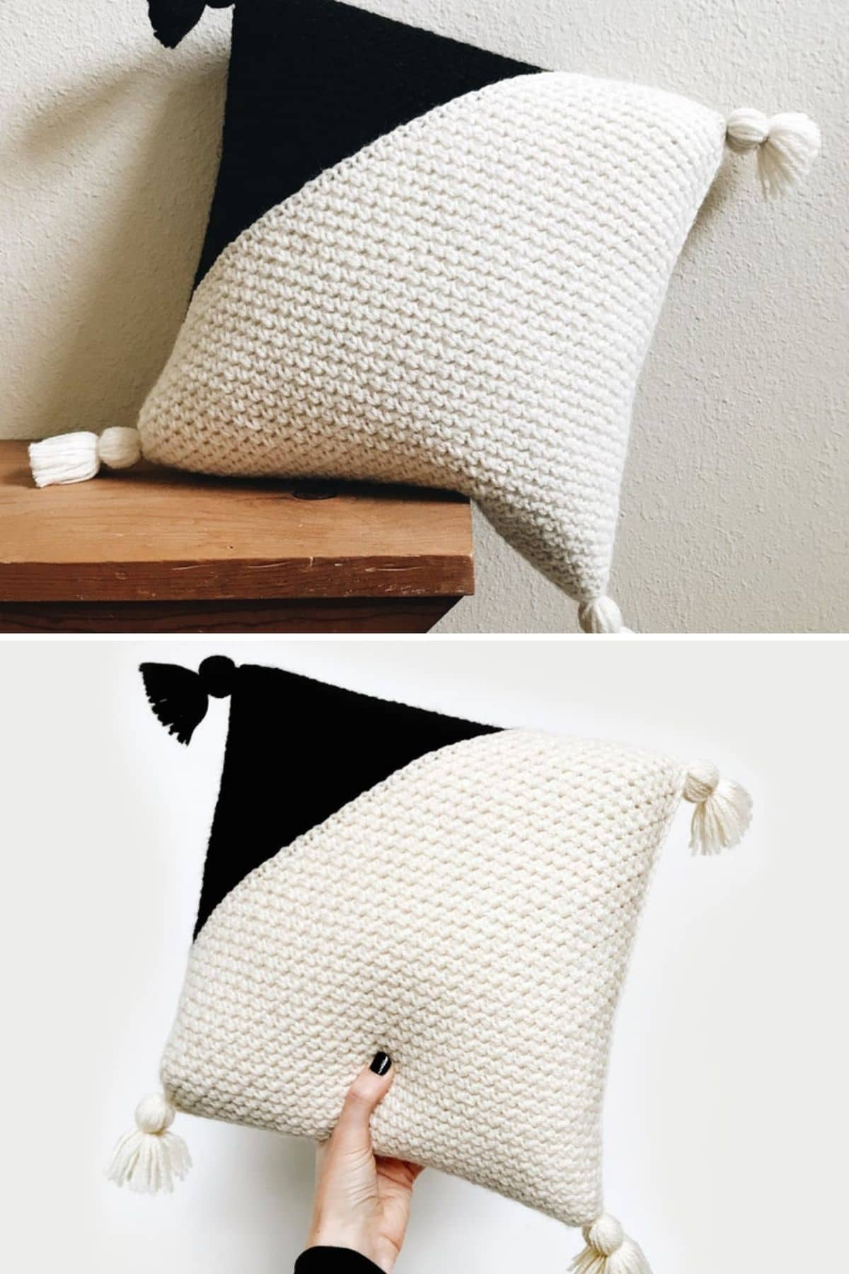 White and black color block pillow with tassels