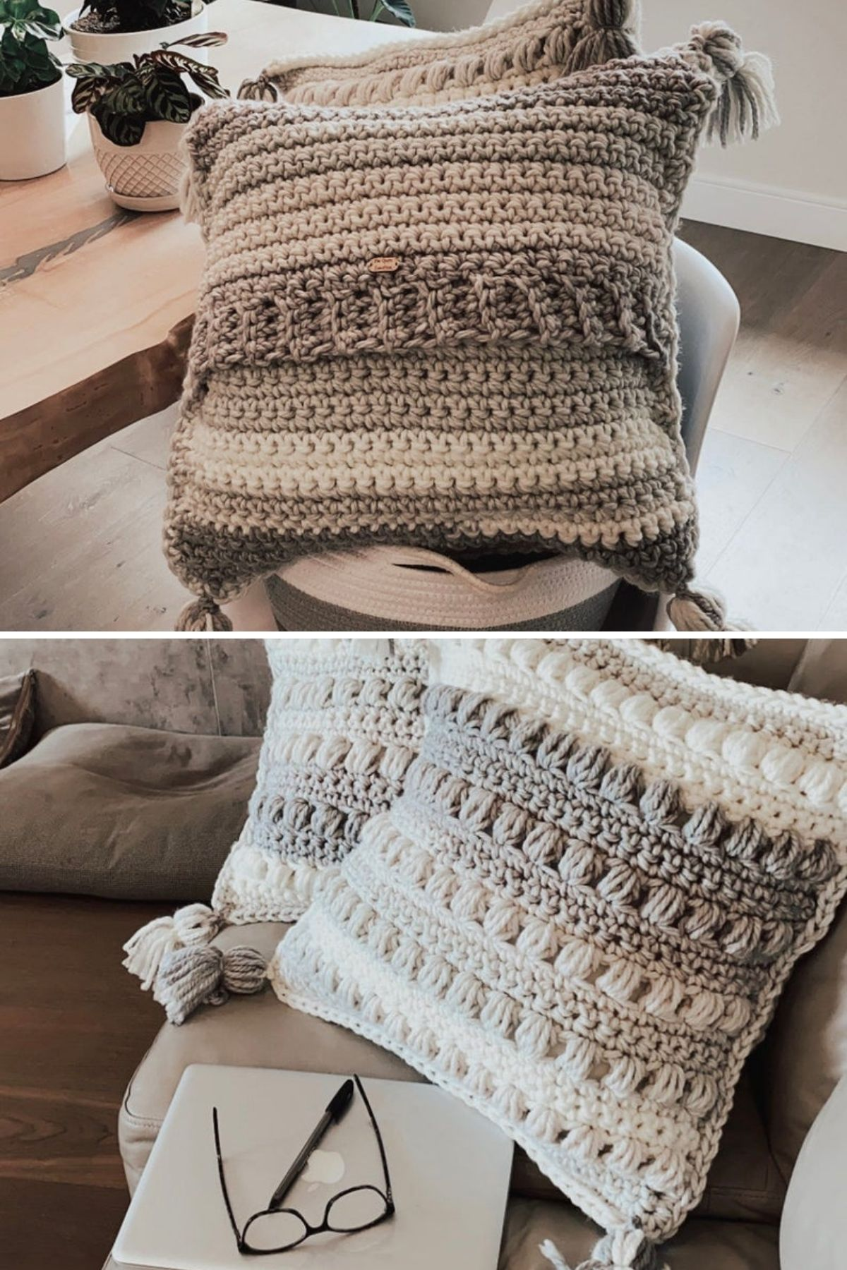 Gray and cream pillow with textured pattern