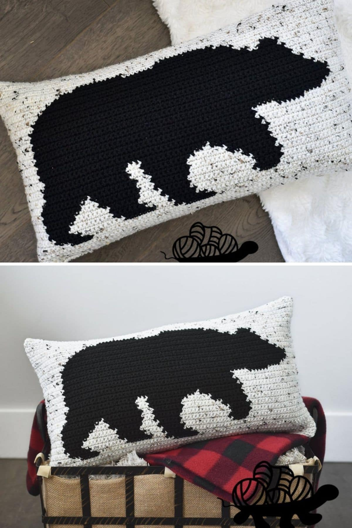 Crochet cream pillow with black bear on front