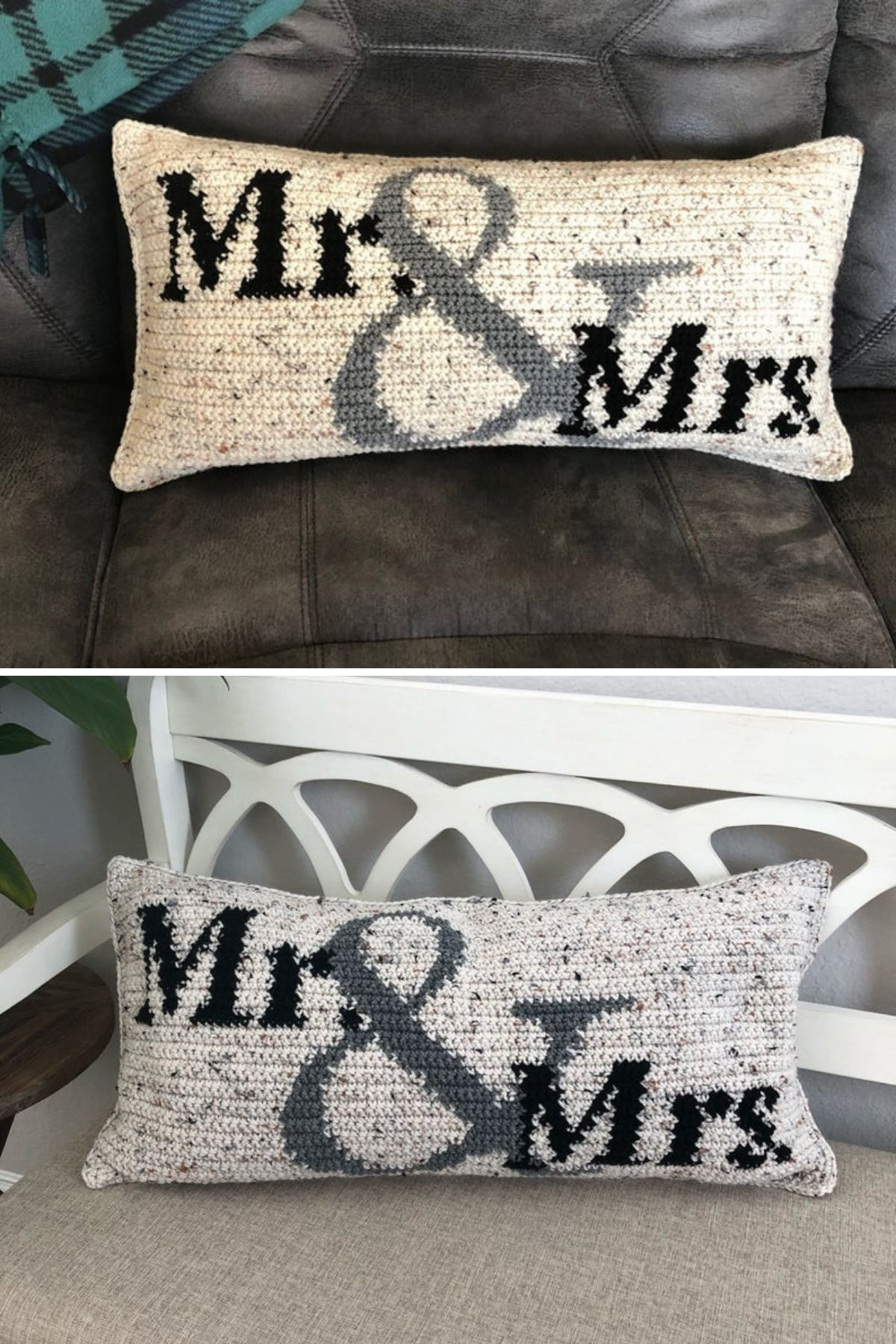 Crochet white and black mr. and mrs. pillow