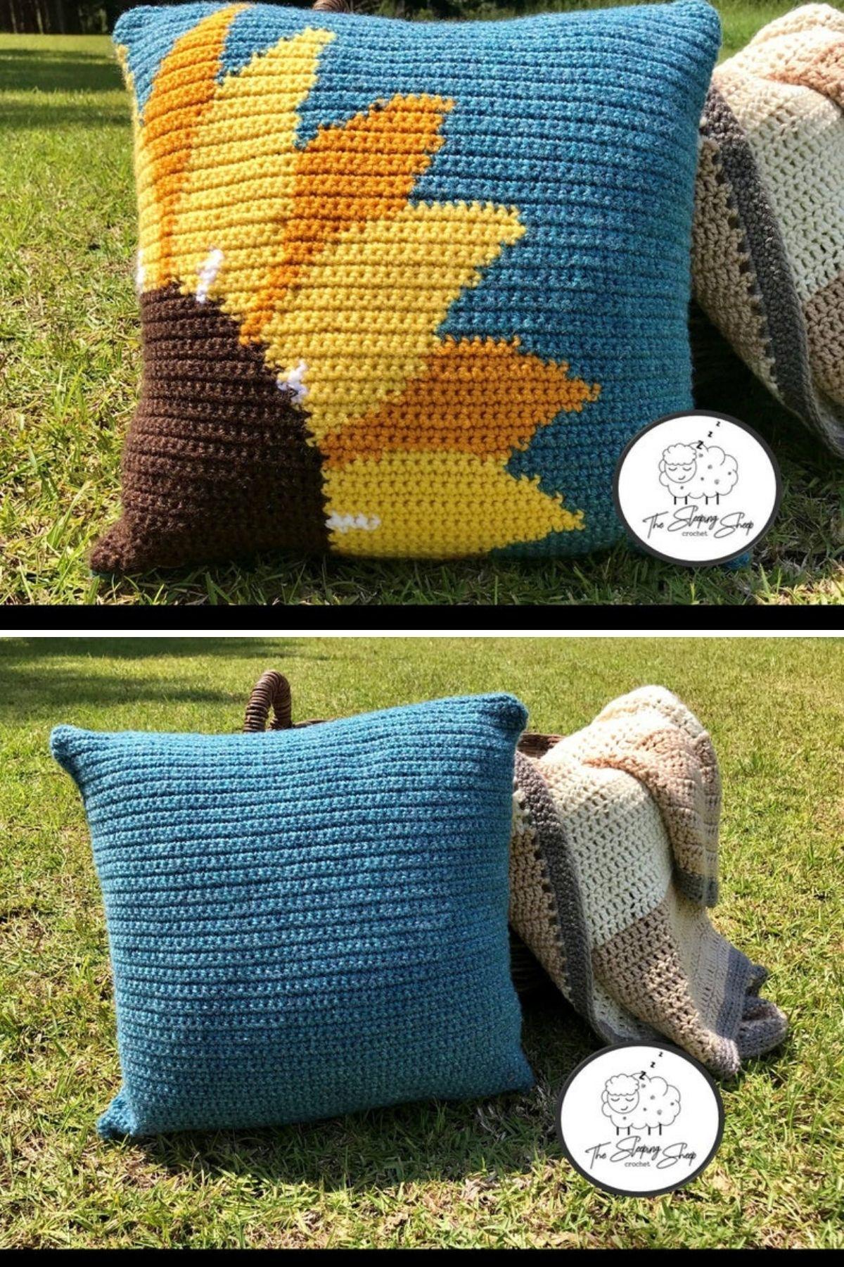 Sunflower on blue crochet pillow