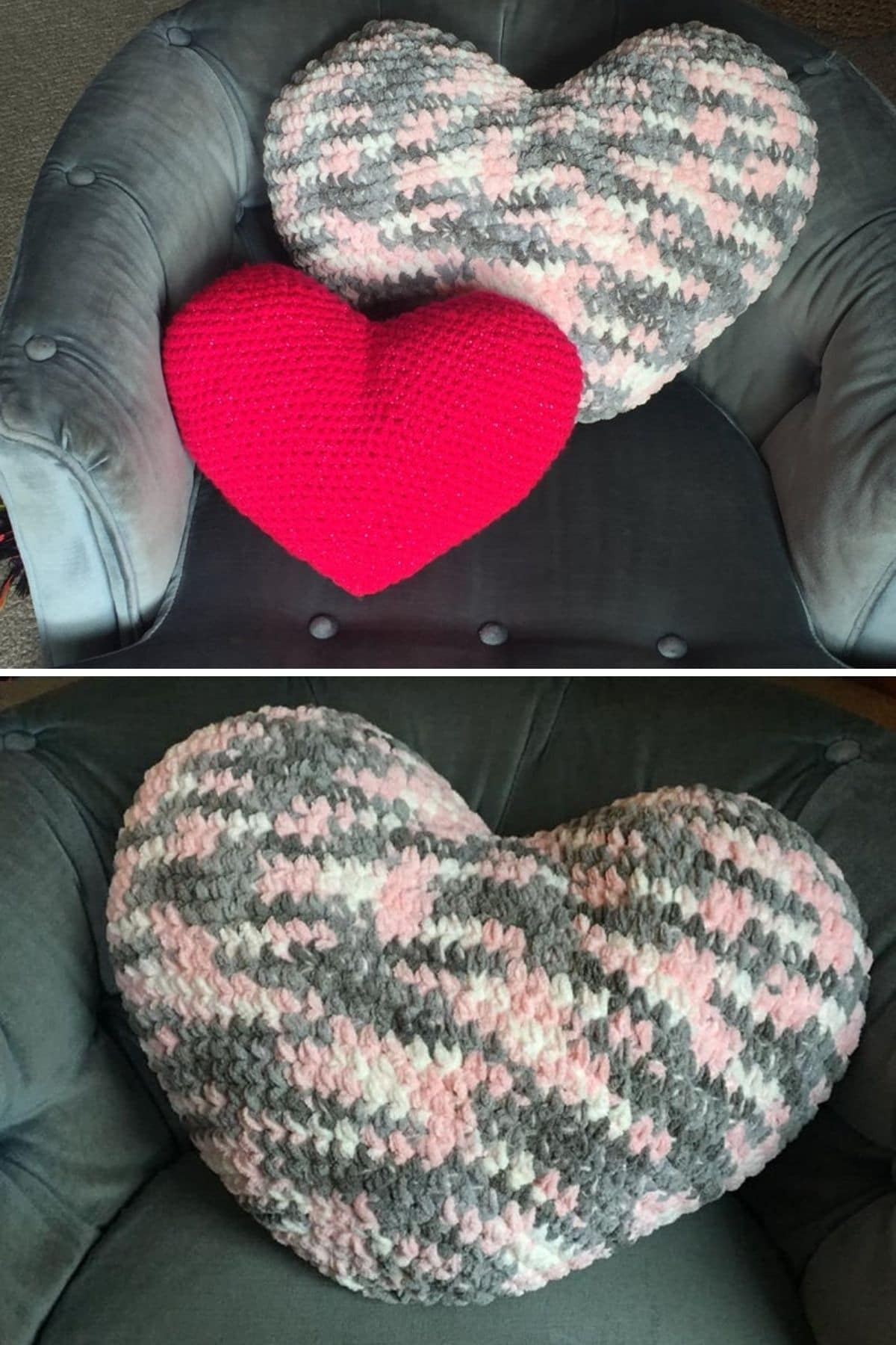 Large pink heart shaped pillow