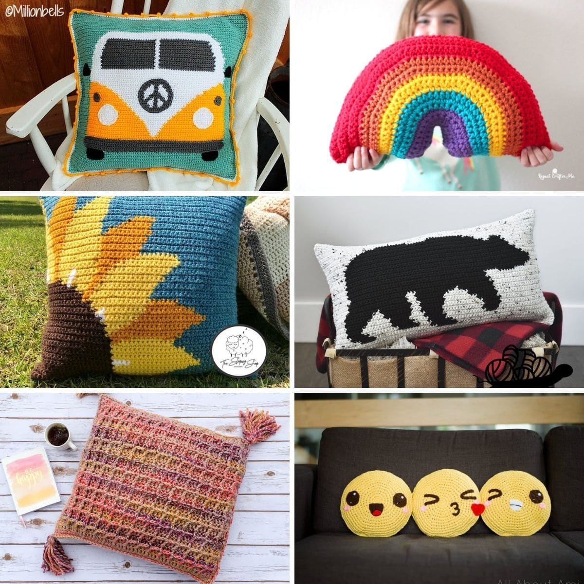Crochet pillow collage image