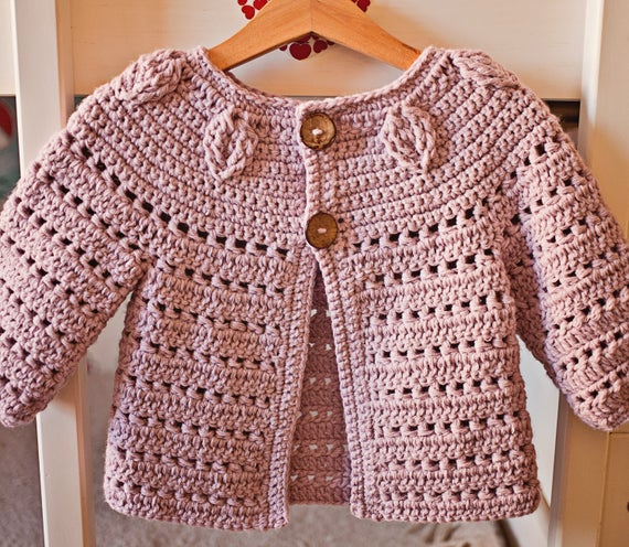 Crochet PATTERN Falling Leaves Cardigan sizes baby up to 8 | Etsy