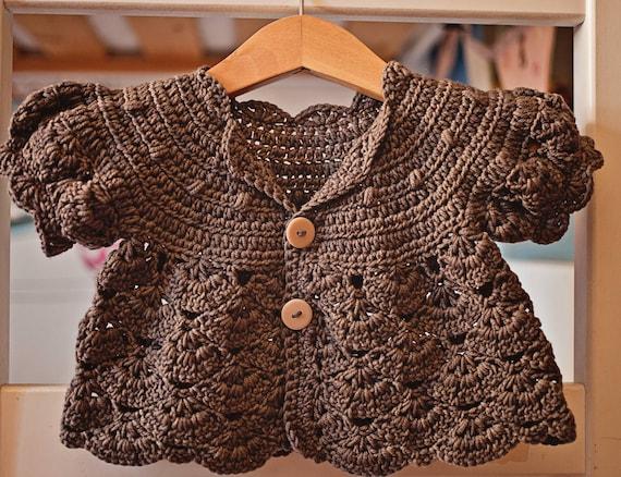 Crochet PATTERN Puff Sleeve Shrug Cardigan sizes baby up | Etsy