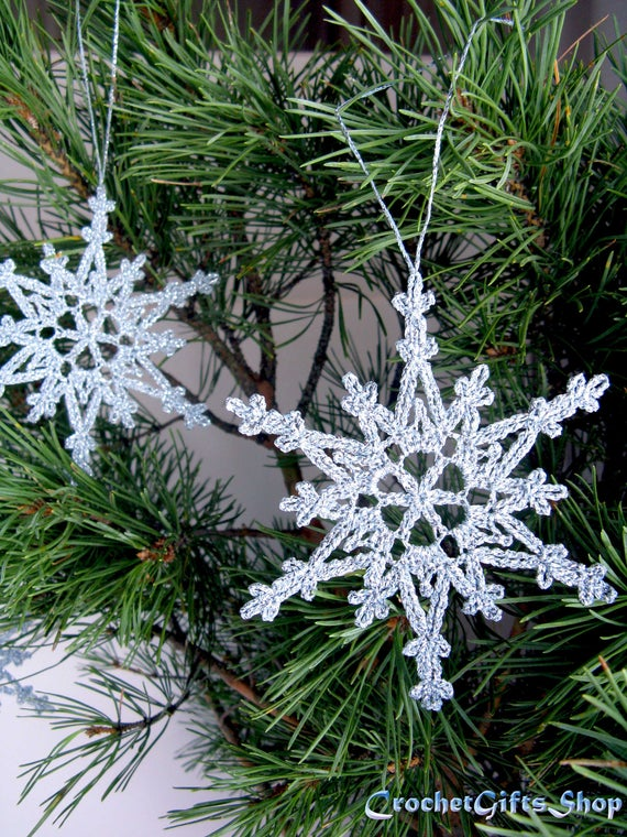 Crochet hanging snowflake PDF Pattern Instant Download | Etsy