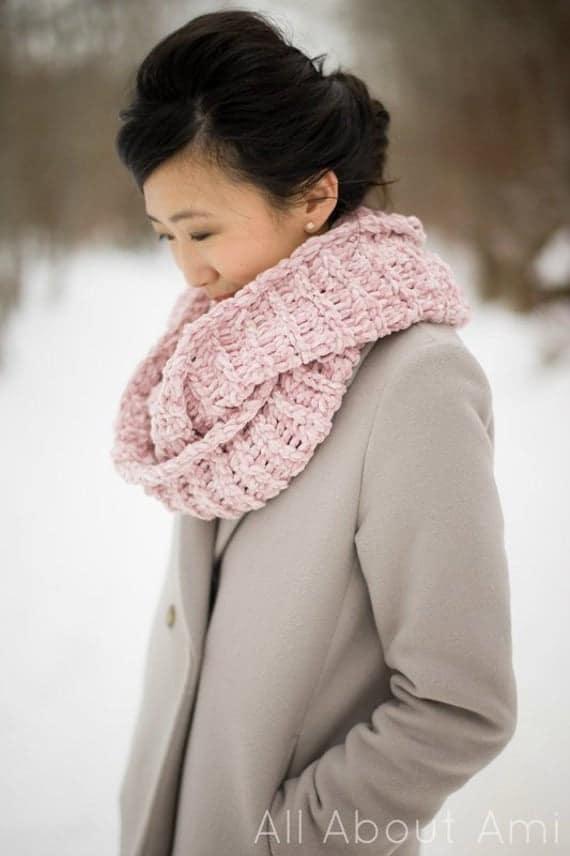 Crochet Velvet Ribbed Cowl Pattern | Etsy