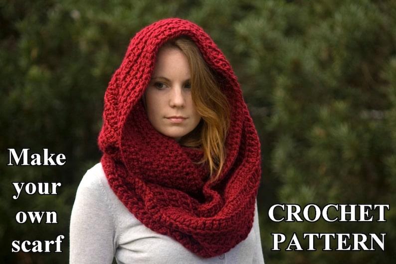 CROCHET PATTERN Oversized Infinity Scarf Pattern Hooded Cowl | Etsy