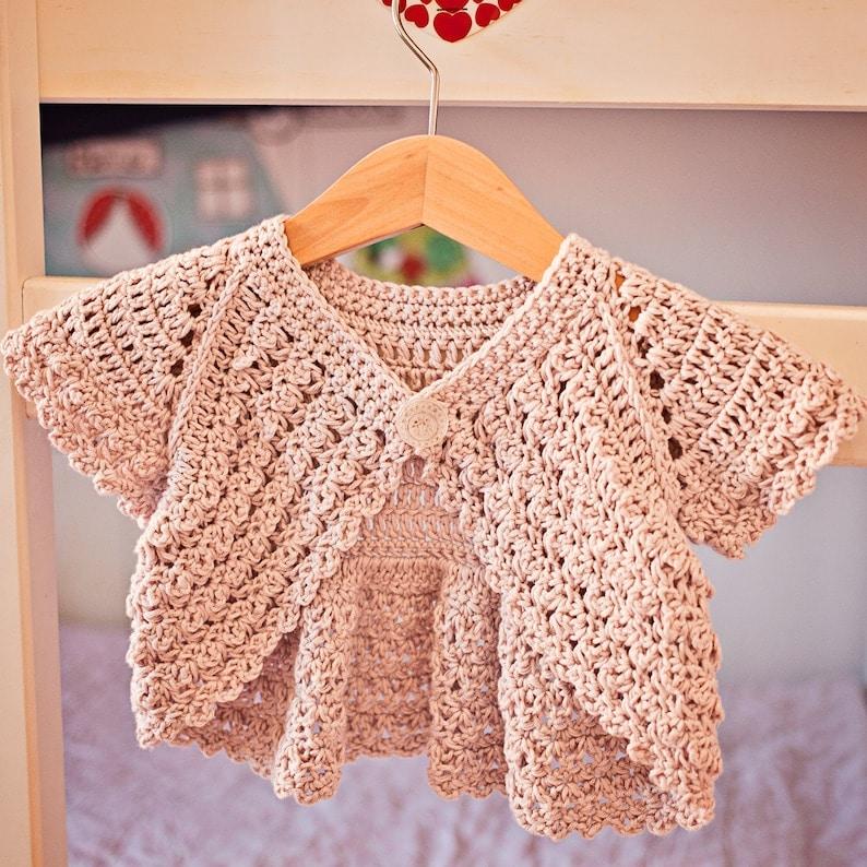 Crochet PATTERN Flutter Sleeve Shrug Cardigan sizes baby | Etsy