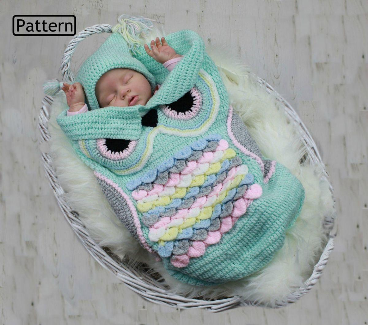 Owl Baby Cocoon - Crochet Pattern