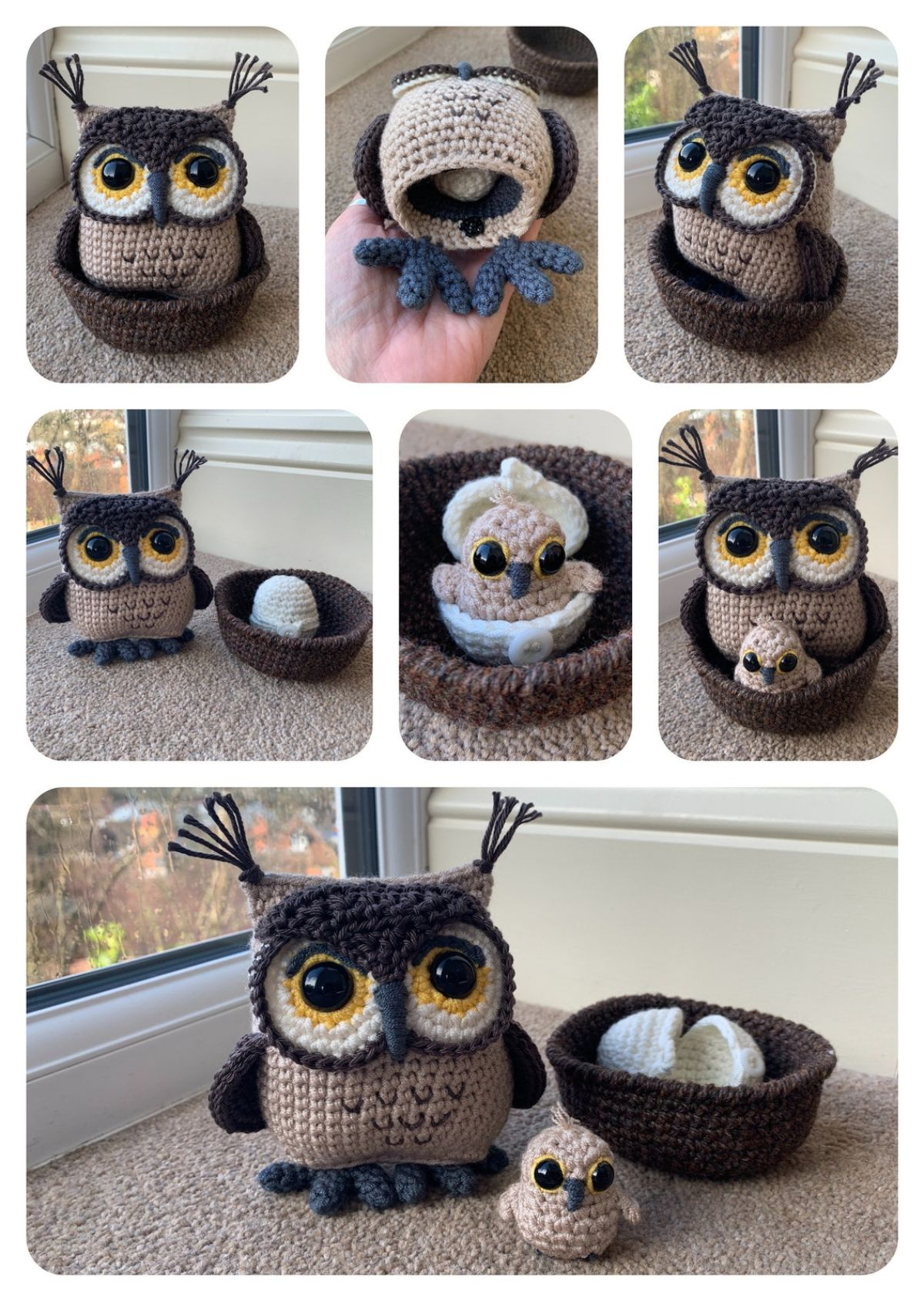 Owl with Hatching Owlet - Crochet Pattern